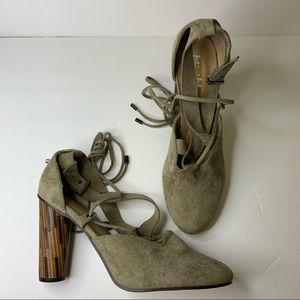 NWOT Mi.iM Suede Leather Wrap Wood Heels